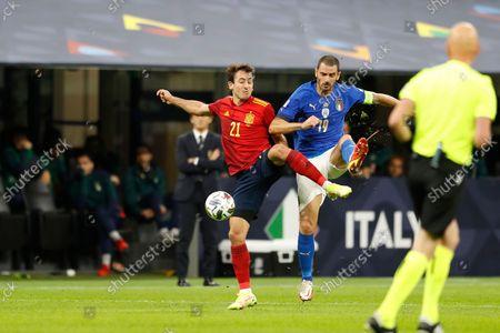 (L-R) Mikel Oyarzabal (ESP), Leonardo Bonucci (ITA) - Football / Soccer : UEFA Nations League Semi-finals match between Italy 1-2 Spain at theStadio San Siro in Milan, Italy.