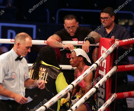 JAMIE MITCHELL (USA) on her stool during their WBA Bantamweight World Championship contest v SHANNON COURTENAY (Watford, England); M&S Bank Arena, Liverpool, England; Matchroom Boxing, Liam Smith versus Anthony Fowler.
