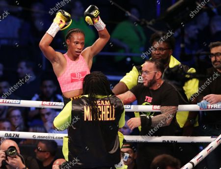 JAMIE MITCHELL (USA) celebrates after her win over SHANNON COURTENAY (Watford, England) after their WBA Bantamweight World Championship contest; M&S Bank Arena, Liverpool, England; Matchroom Boxing, Liam Smith versus Anthony Fowler.