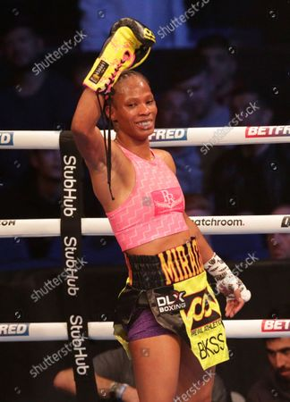 JAMIE MITCHELL (California, USA) celebrates after her win over SHANNON COURTENAY (Watford, England) after their WBA Bantamweight World Championship contest; M&S Bank Arena, Liverpool, England; Matchroom Boxing, Liam Smith versus Anthony Fowler.