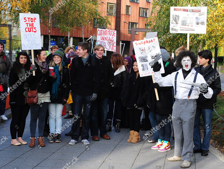 Student protesters outside Queen Mary, University of London