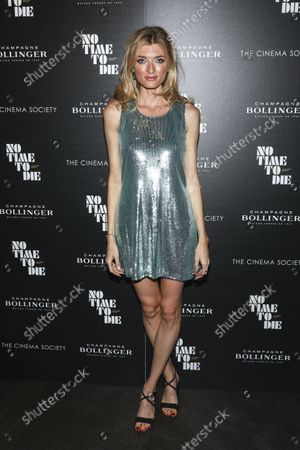 """Stock Picture of Model Sophie Sumner attends a special screening of """"No Time to Die"""" hosted by Champagne Bollinger and The Cinema Society at iPic Theater, in New York"""