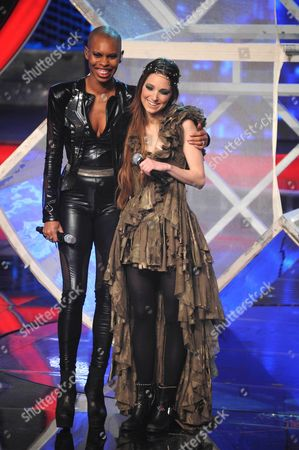 Stock Picture of Skunk Anansie - Skin with X Factor winner Nathalie Giannitrapani