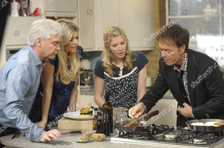 Presenters Phillip Schofield and Holly Willoughby with Lisa Faulkner and Sir Cliff Richard