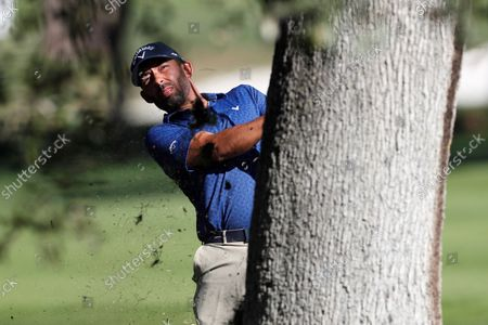 Spain's Pablo Larrazabal plays a shot during the second round of the Acciona Open Espana Golf tournament at the Club de Campo Villa country club in Madrid, Spain, 08 October 2021.