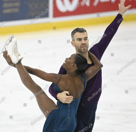 Vanessa James and Eric Radford of Canada perform their free skating during the figure skating Finlandia Trophy Espoo international figure skating competition in Espoo, Finland, on October 8, 2021.