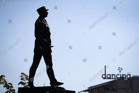 A statue of French army general and statesman Charles De Gaulle is seen on 08 October, 2021 in Warsaw, Poland.