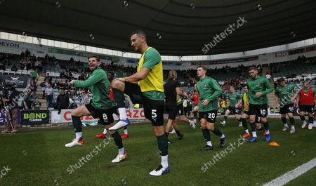 James Wilson of Plymouth Argyle and Joe Edwards of Plymouth Argyle during the Sky Bet League 1 match between Plymouth Argyle and Burton Albion on Saturday 9th October 2021, Home Park, Plymouth, Devon - Photo: Dave Rowntree/PPAUK