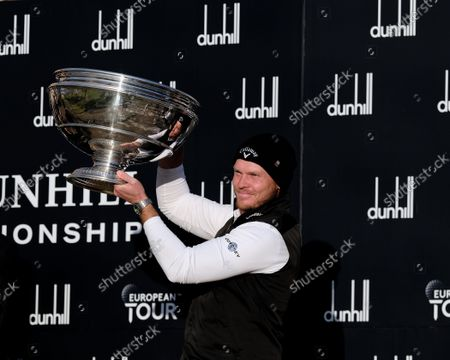Stock Image of Danny Willet (England), winner of the Alfred Dunhill Links Championship 2021 at The Old Course, St Andrews, Fife, Scotland.