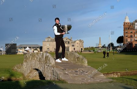 Stock Photo of Danny Willet (England), winner of the Alfred Dunhill Links Championship 2021 at The Old Course, St Andrews, Fife, Scotland.