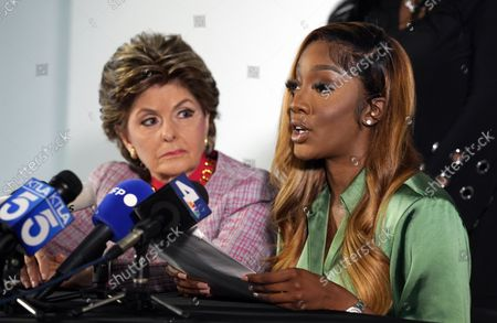 """Stock Photo of Faith Rodgers, right, who testified recently at R. Kelly's criminal trial in New York, addresses reporters alongside her attorney Gloria Allred, at Allred's offices in Los Angeles. Rodgers addressed comments made by Bill Cosby's spokesperson, Andrew Wyatt, that Kelly was """"railroaded"""" and did not receive a fair trial"""
