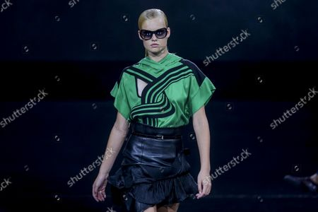 Stock Photo of A model displays a creation by Portuguese fashion designer Luis Buchinho on the second day of the Lisbon Fashion Week 2021, at Capitolio in Lisbon, Portugal, 08 October 2021. The 57th ModaLisboa runs from 07 to 10 October 2021.