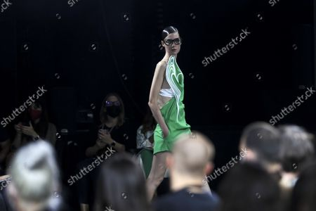 Stock Picture of A model displays a creation by Portuguese fashion designer Luis Buchinho on the second day of the Lisbon Fashion Week 2021, at Capitolio in Lisbon, Portugal, 08 October 2021. The 57th ModaLisboa runs from 07 to 10 October 2021.