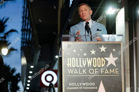 British actor Daniel Craig speaks during a ceremony in his honor as he receives a new star on the Hollywood Walk of Fame