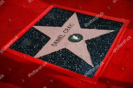 British actor Daniel Craig's new star on the Hollywood Walk of Fame is pictured after a ceremony for his honor