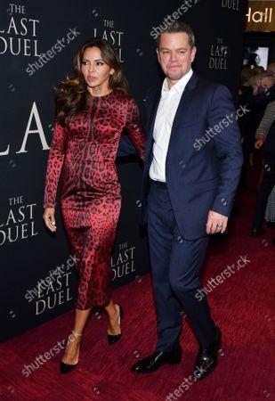 Stock Picture of Matt Damon and Luciana Damon