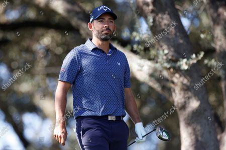 Spanish golfer Pablo Larrazabal looks on during the third round of the Acciona Open Espana Golf tournament at the Club de Campo Villa country club in Madrid, Spain, 09 October 2021.