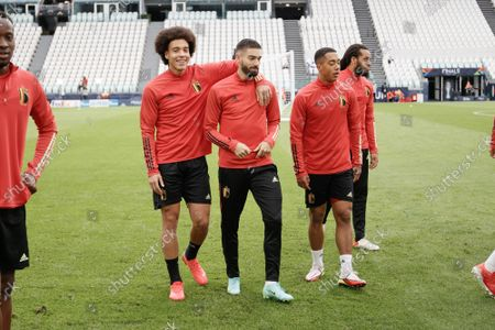 Belgium's Axel Witsel, Belgium's Yannick Carrasco, Belgium's Youri Tielemans and Belgium's Jason Denayer pictured during a training session of the Belgian national soccer team Red Devils, in Torino, Italy, on Saturday 09 October 2021. The team is preparing for the third place of the Nations League, against Italy on Sunday.