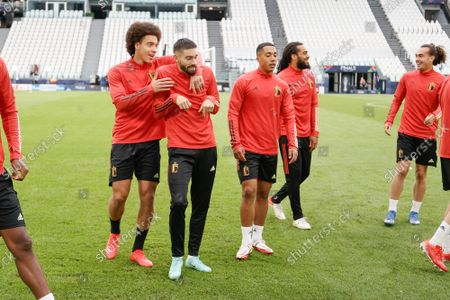 Belgium's Axel Witsel, Belgium's Yannick Carrasco, Belgium's Youri Tielemans, Belgium's Jason Denayer and Belgium's Arthur Theate pictured during a training session of the Belgian national soccer team Red Devils, in Torino, Italy, on Saturday 09 October 2021. The team is preparing for the third place of the Nations League, against Italy on Sunday.