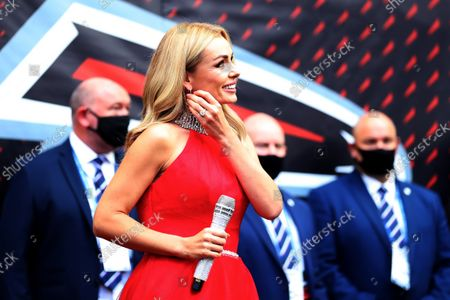 NFL UK Series, Atlanta Falcons versus New York Jets: Singer Katherine Jenkins walks out onto the field of play to sing the national anthem; Tottenham Hotspur stadium, London, England.