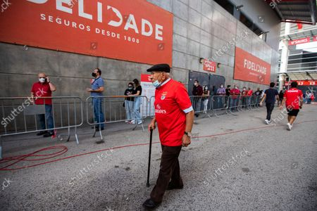 A man wearing a Benfica shirt after voting for the new President of Sport Lisboa e Benfica , on October 9, 2021, at the Luz Stadium in Lisbon, Portugal.The Elections for the New President of Sport Lisboa e Benfica are held today. Former player Rui Costa is the main candidate and competes against Francisco Benitez.