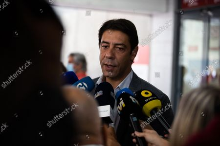Rui Costa, the candidate for the President of Sport Lisboa e Benfica after voting in the elections speaking to the media, on October 9, 2021, at the Luz Stadium in Lisbon, Portugal.The Elections for the New President of Sport Lisboa e Benfica are held today. Former player Rui Costa is the main candidate and competes against Francisco Benitez.