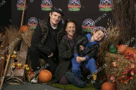 Jaime Winstone with husband James Suckling and children. Alton Towers Resort welcomed the first guests to enjoy the brand new spooktacular family attraction for this year's Scarefest, Trick O Treat Town, where every day is Halloween and the townsfolk favourite past time is trick-or-treating for the town's visitors.