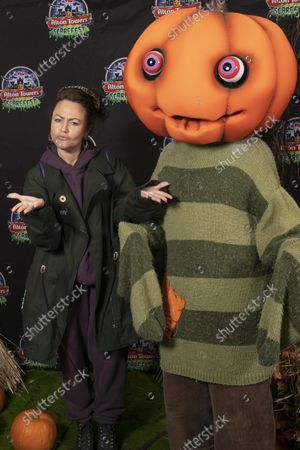 Stock Picture of Jaime Winstone with husband James Suckling and children. Alton Towers Resort welcomed the first guests to enjoy the brand new spooktacular family attraction for this year's Scarefest, Trick O Treat Town, where every day is Halloween and the townsfolk favourite past time is trick-or-treating for the town's visitors.