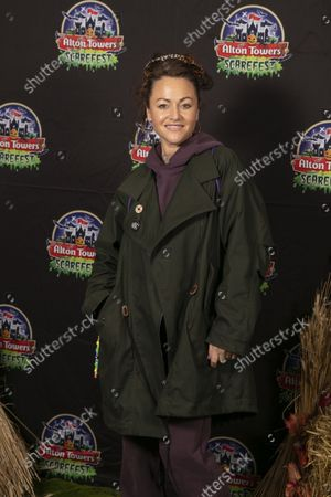 Stock Photo of Jaime Winstone with husband James Suckling and children. Alton Towers Resort welcomed the first guests to enjoy the brand new spooktacular family attraction for this year's Scarefest, Trick O Treat Town, where every day is Halloween and the townsfolk favourite past time is trick-or-treating for the town's visitors.
