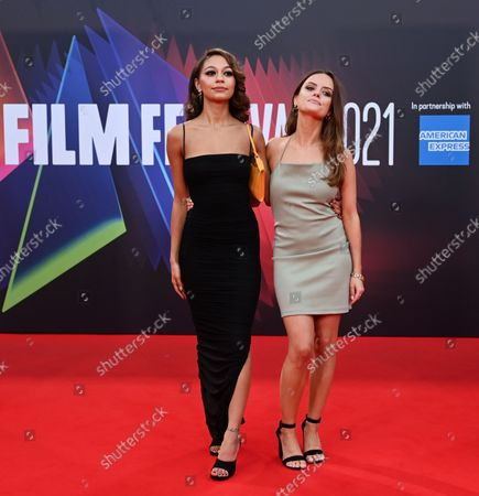 British actreesses and cast members Kassius Nelson (L) and Rebecca Harrod (R) attend  the 'Last Night in Soho' film premier during the London Film Festival in London, Britain, 09 October 2021.  The British Film Institute festival runs from 06 to 17 October 2021.