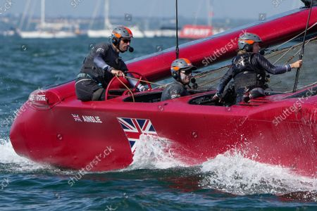 Stock Picture of Great Britain SailGP Team helmed by Ben Ainslie. Race Day 1 at Spain SailGP, Event 6, Season 2 in Cadiz, Andalucia, Spain. 9th October 2021. Photo: Thomas Lovelock for SailGP. Handout image supplied by SailGP