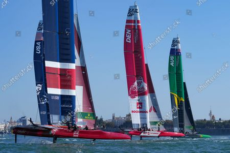 Stock Photo of USA SailGP Team helmed by Jimmy Spithill, Great Britain SailGP Team helmed by Ben Ainslie, Denmark SailGP Team presented by ROCKWOOL helmed by Nicolai Sehested and Australia SailGP Team helmed by Tom Slingsby in action on Race Day 1 at Spain SailGP, Event 6, Season 2 in Cadiz, Andalucia, Spain. 9th October 2021. Photo: Bob Martin for SailGP. Handout image supplied by SailGP