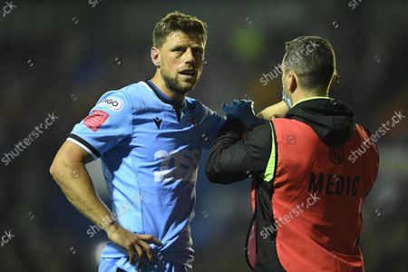 Stock Photo of Rhys Priestland of Cardiff is treated.