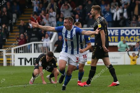 David Ferguson of Hartlepool United celebrates after scoring their first goal to make it 1-1 during the Sky Bet League 2 match between Hartlepool United and Northampton Town at Victoria Park, Hartlepool on Saturday 9th October 2021.