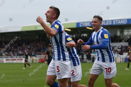 David Ferguson of Hartlepool United celebrates after scoring their first goal to make the score 1-1  during the Sky Bet League 2 match between Hartlepool United and Northampton Town at Victoria Park, Hartlepool on Saturday 9th October 2021.
