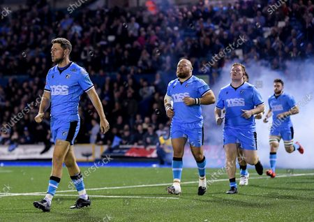 Cardiff Rugby vs Vodacom Bulls. Cardiff's Rhys Priestland runs out on to the pitch before the game