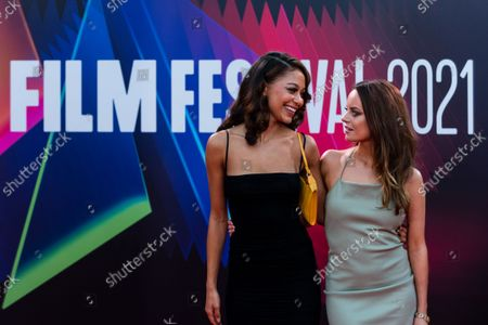 Kassius Nelson and Rebecca Harrod attend the UK Premiere of 'Last Night In Soho' during the 65th London Film Festival at The Royal Festival Hall, in London, Britain, 9 October 2021.