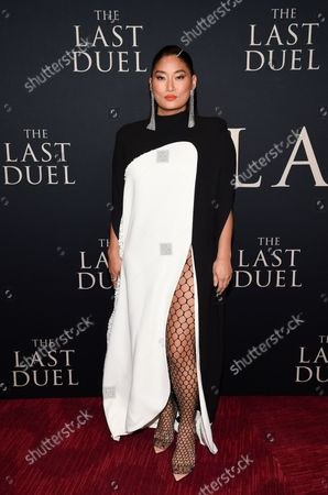 """Musician Chloe Flower attends the premiere of """"The Last Duel"""" at Rose Theater at Jazz at Lincoln Center, in New York"""