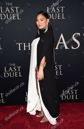 """Chloe Flower attends the premiere of """"The Last Duel"""" at Rose Theater at Jazz at Lincoln Center, in New York"""