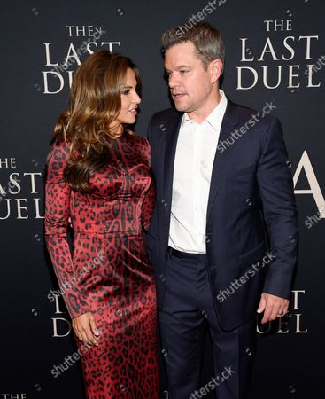 """Actor Matt Damon, right, and wife Luciana Barroso attend the premiere of """"The Last Duel"""" at Rose Theater at Jazz at Lincoln Center, in New York"""