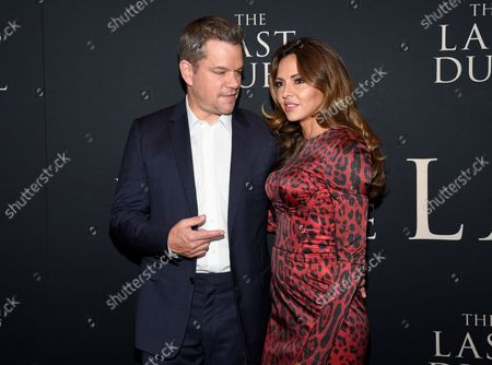 """Stock Image of Actor Matt Damon, left, and wife Luciana Barroso attend the premiere of """"The Last Duel"""" at Rose Theater at Jazz at Lincoln Center, in New York"""