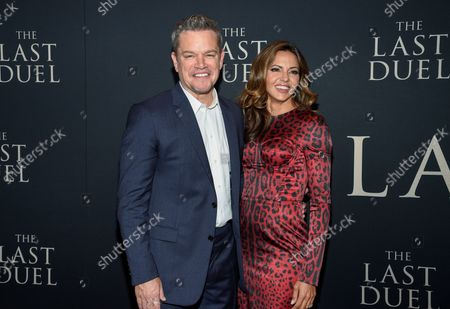 """Actor Matt Damon, left, and wife Luciana Barroso attend the premiere of """"The Last Duel"""" at Rose Theater at Jazz at Lincoln Center, in New York"""