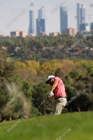 Stock Photo of Spanish golfer Pablo Larrazabal plays a shot during the last round of the Acciona Open Espana Golf tournament at the Club de Campo Villa country club in Madrid, Spain, 10 October 2021.