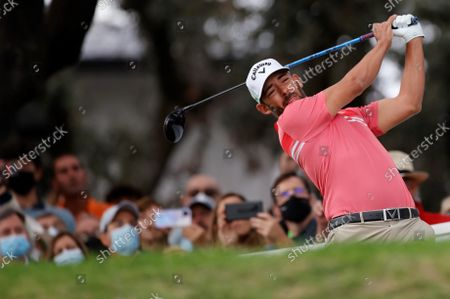 Spanish golfer Pablo Larrazabal hits a shot  during the last round of the Acciona Open Espana Golf tournament at the Club de Campo Villa country club in Madrid, Spain, 10 October 2021.