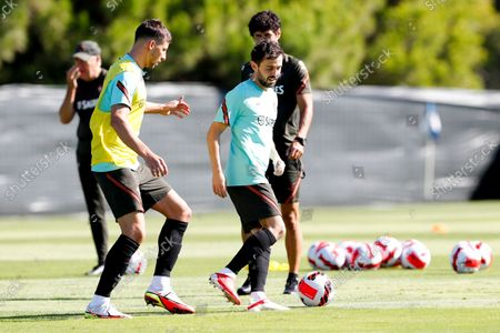 Portuguese national soccer team players Ruben Dias (L) and Bernardo Silva (R) during a training session in Almancil, Faro, southern Portugal, 10 October 2021. Portugal will face Luxembourg in their FIFA World Cup Qatar 2022 qualifying group A soccer match next 12 October.