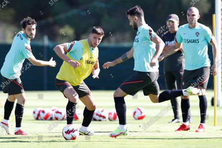 (L-R) Portuguese national soccer players  Bernardo Silva, Ruben Dias, Bruno Fernandes and Pepe in action during a training session in Almancil, Faro, southern Portugal, 10 October 2021. Portugal will face Luxembourg in their FIFA World Cup Qatar 2022 qualifying group A soccer match next 12 October.