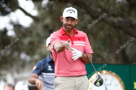 Pablo Larrazabal of Spain gestures during the Acciona Open Espana of Golf, Spain Open, at Casa de Campo on October 10, 2021, in Madrid, Spain.
