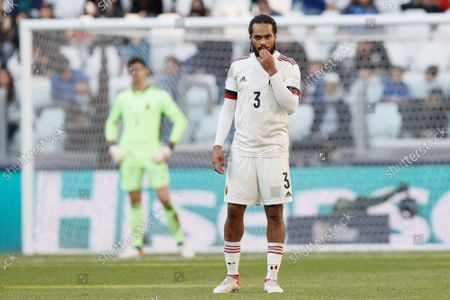 Belgium's Jason Denayer looks dejected during a soccer game between Belgian national team Red Devils and Italy, the Nations League third-place play-off, in Torino, Italy, on Sunday 10 October 2021.