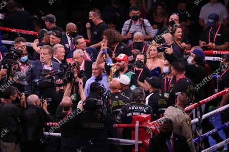 Referee Russell Mora declares Tyson Fury the winner by KO in the 11th round of the Tyson Fury vs Deontay Wilder III 12-round Heavyweight boxing match, at the T-Mobile Arena in Las Vegas, Nevada on Saturday, October 9th, 2021.