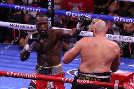 Deontay Wilder prepares to throw a jab during the Tyson Fury vs Deontay Wilder III 12-round Heavyweight boxing match, at the T-Mobile Arena in Las Vegas, Nevada on Saturday, October 9th, 2021.
